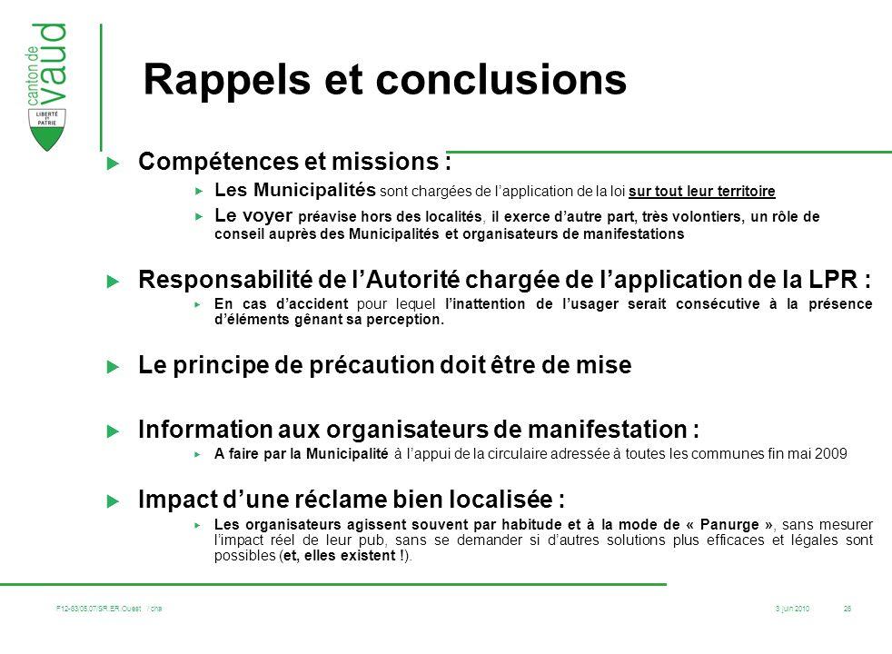 3 juin 2010 F12-83/05.07/SR.ER.Ouest / cha 26 Rappels et conclusions Compétences et missions : Les Municipalités sont chargées de lapplication de la l