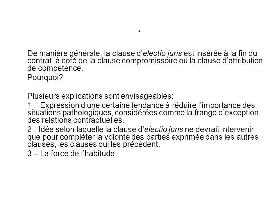 De manière générale, la clause delectio juris est insérée à la fin du contrat, à coté de la clause compromissoire ou la clause dattribution de compétence.