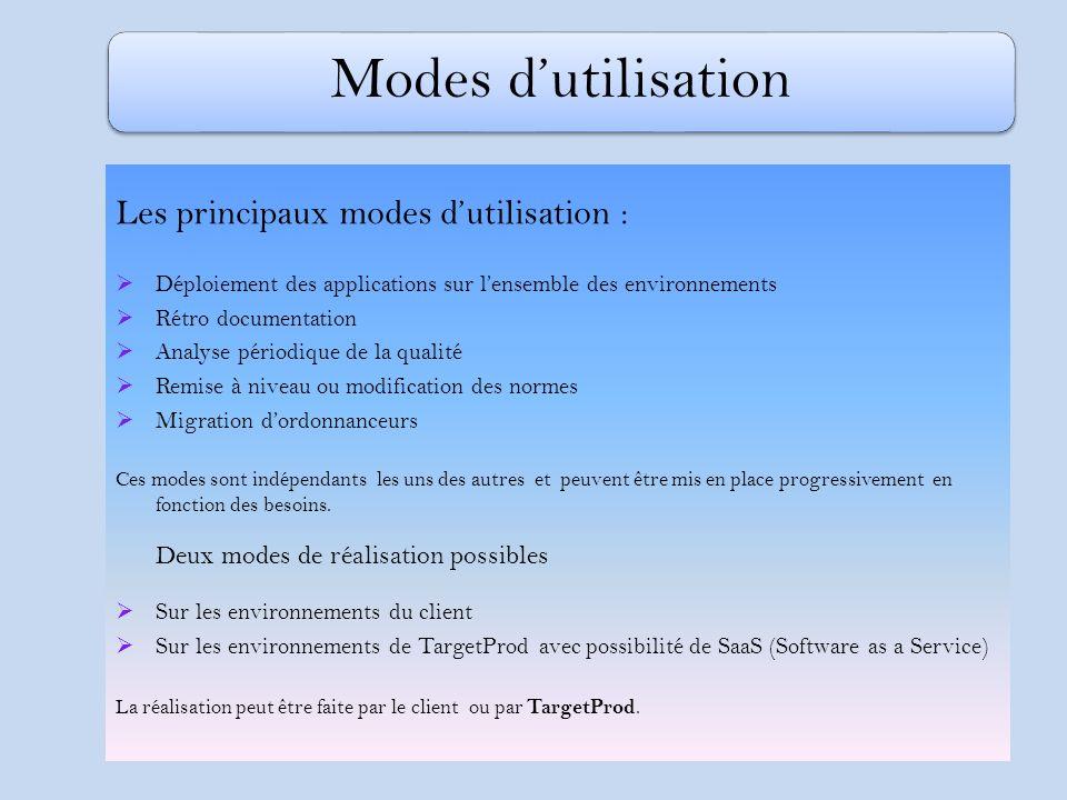 Les principaux modes dutilisation : Déploiement des applications sur lensemble des environnements Rétro documentation Analyse périodique de la qualité