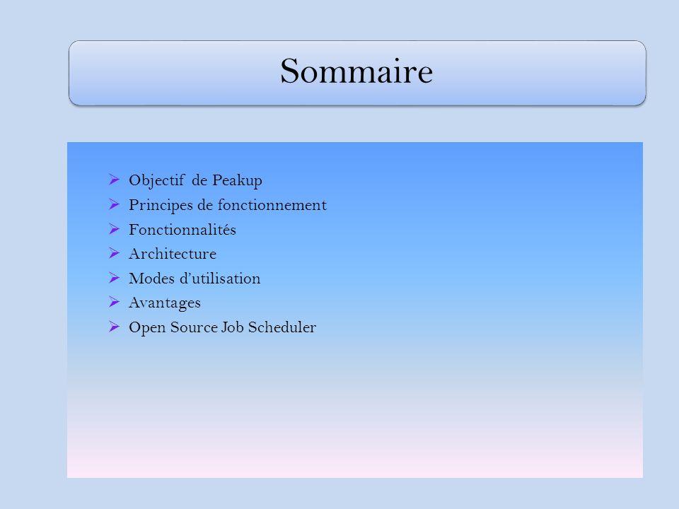 Sommaire Objectif de Peakup Principes de fonctionnement Fonctionnalités Architecture Modes dutilisation Avantages Open Source Job Scheduler