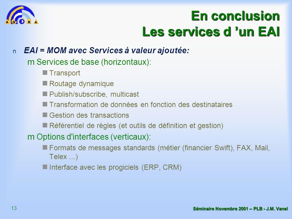 13 Séminaire Novembre 2001 – PLB - J.M. Vanel En conclusion Les services d un EAI n EAI = MOM avec Services à valeur ajoutée: m Services de base (hori