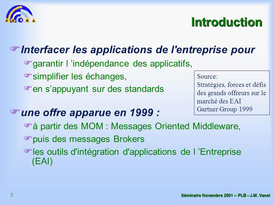 2 Séminaire Novembre 2001 – PLB - J.M. Vanel Introduction Interfacer les applications de l'entreprise pour garantir l indépendance des applicatifs, si