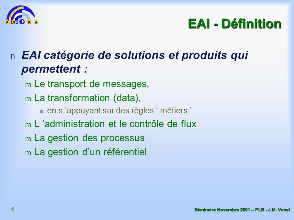 6 Séminaire Novembre 2001 – PLB - J.M. Vanel EAI - Définition n EAI catégorie de solutions et produits qui permettent : m Le transport de messages, m