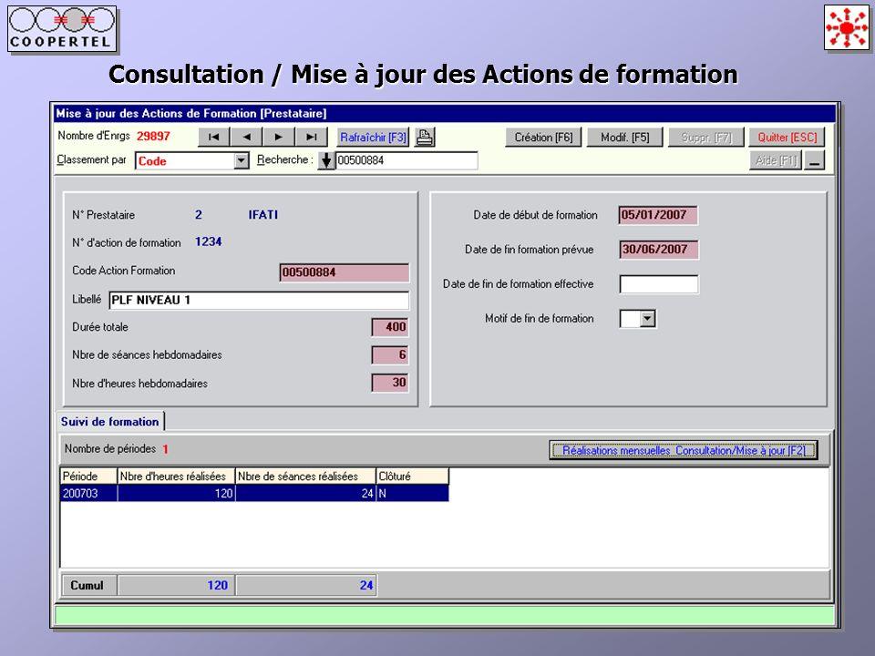 Consultation / Mise à jour des Actions de formation