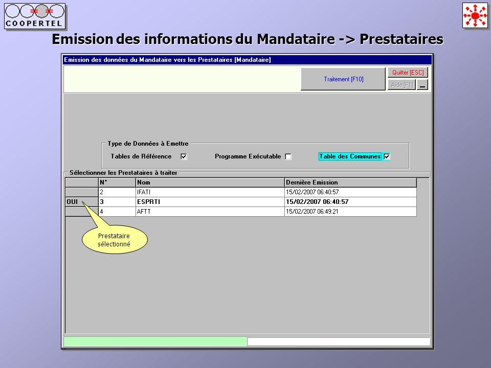 Emission des informations du Mandataire -> Prestataires Prestataire sélectionné