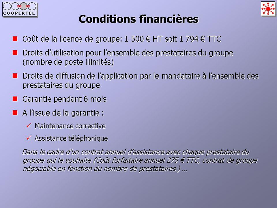 Conditions financières Coût de la licence de groupe: 1 500 HT soit 1 794 TTC Coût de la licence de groupe: 1 500 HT soit 1 794 TTC Droits dutilisation