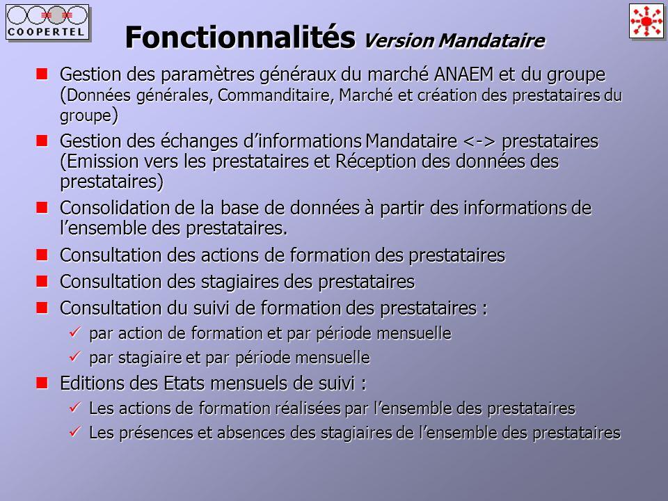 Fonctionnalités Version Mandataire Gestion des paramètres généraux du marché ANAEM et du groupe ( Données générales, Commanditaire, Marché et création
