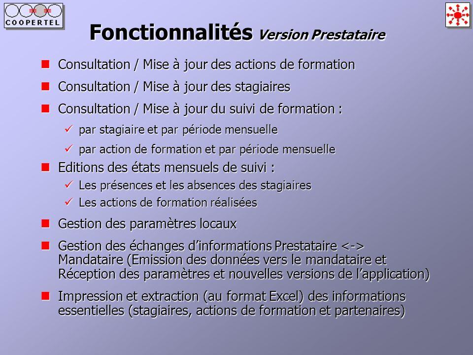 Fonctionnalités Version Prestataire Consultation / Mise à jour des actions de formation Consultation / Mise à jour des actions de formation Consultati