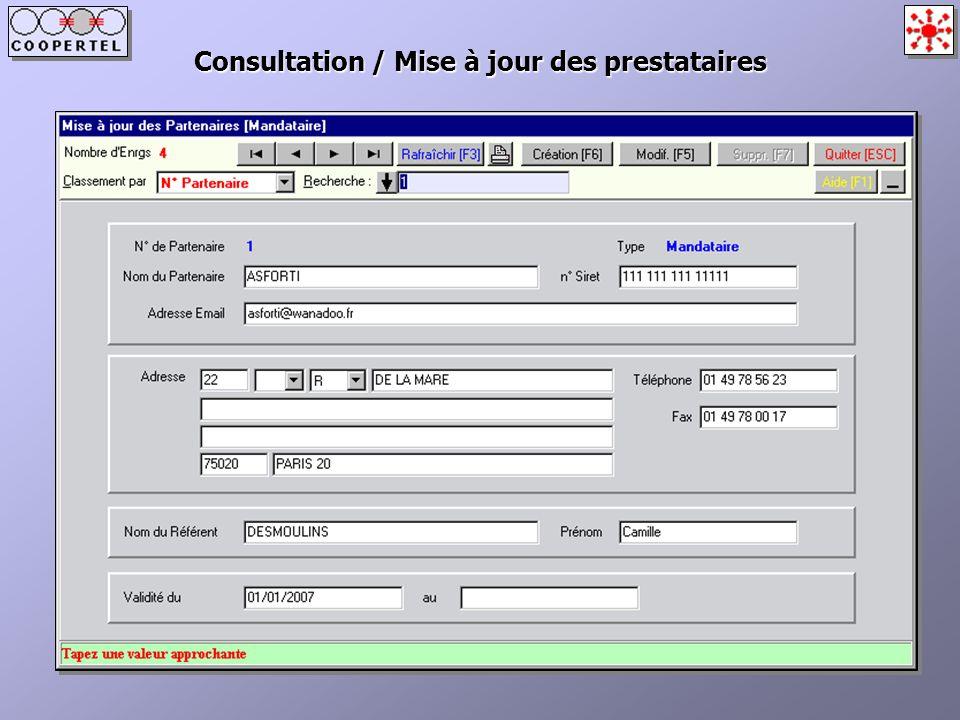 Consultation / Mise à jour des prestataires