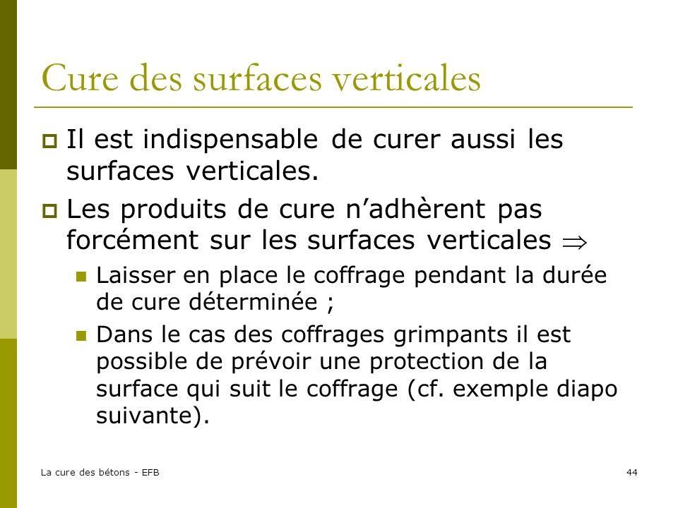La cure des bétons - EFB44 Cure des surfaces verticales Il est indispensable de curer aussi les surfaces verticales. Les produits de cure nadhèrent pa