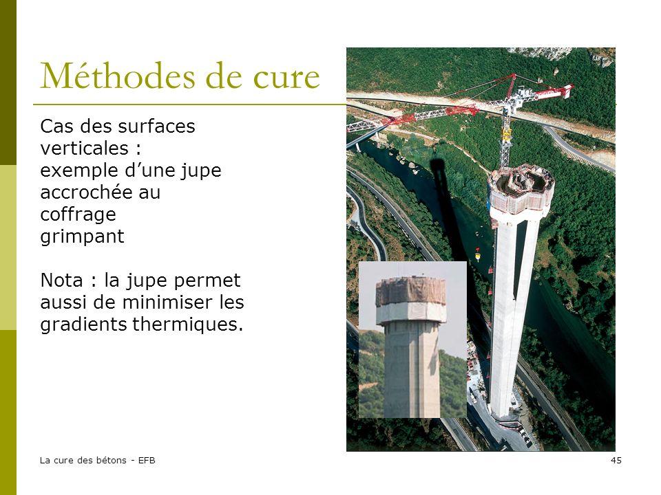 La cure des bétons - EFB45 Méthodes de cure Cas des surfaces verticales : exemple dune jupe accrochée au coffrage grimpant Nota : la jupe permet aussi