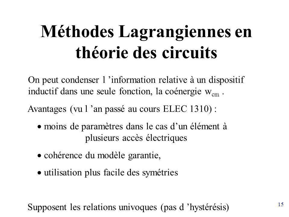 15 Méthodes Lagrangiennes en théorie des circuits Avantages (vu l an passé au cours ELEC 1310) : moins de paramètres dans le cas dun élément à plusieu