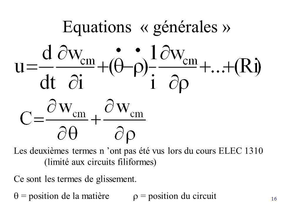 16 Equations « générales » Les deuxièmes termes n ont pas été vus lors du cours ELEC 1310 (limité aux circuits filiformes) Ce sont les termes de gliss