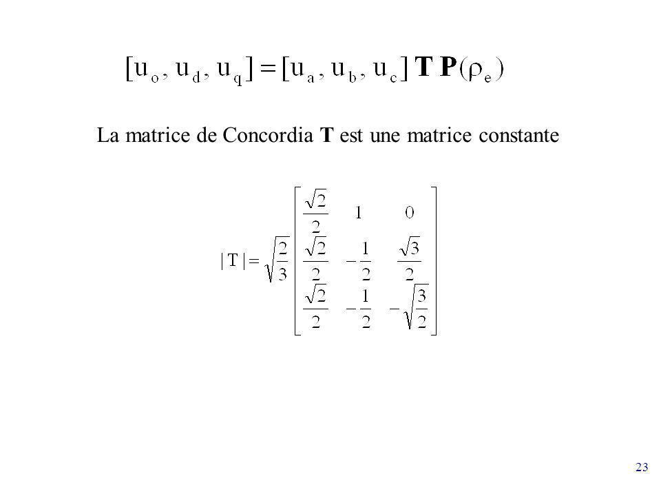 23 La matrice de Concordia T est une matrice constante