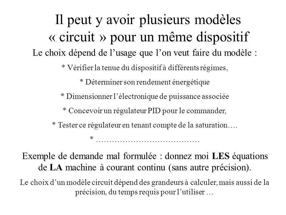 Il peut y avoir plusieurs modèles « circuit » pour un même dispositif Le choix dépend de lusage que lon veut faire du modèle : * Vérifier la tenue du