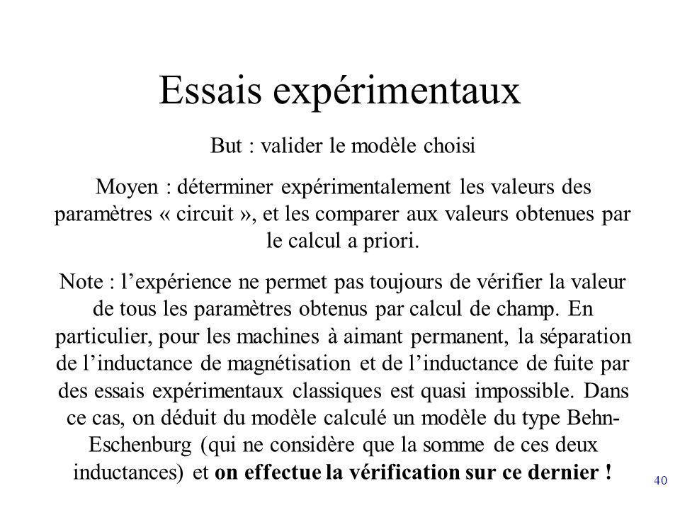 40 Essais expérimentaux But : valider le modèle choisi Moyen : déterminer expérimentalement les valeurs des paramètres « circuit », et les comparer au