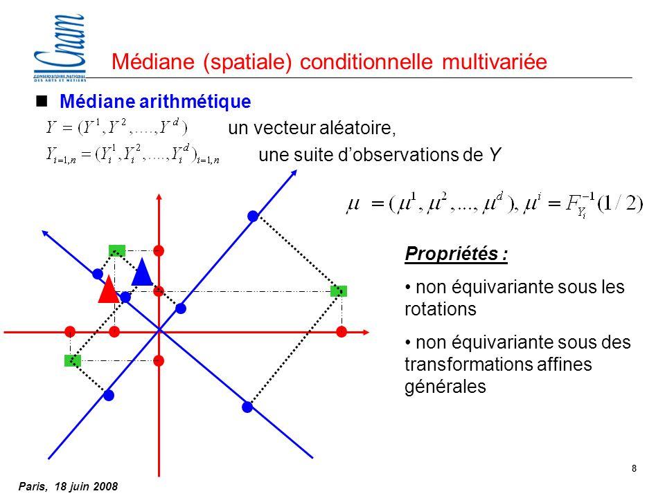Paris, 18 juin 2008 8 Médiane (spatiale) conditionnelle multivariée nMédiane arithmétique un vecteur aléatoire, une suite dobservations de Y Propriétés : non équivariante sous les rotations non équivariante sous des transformations affines générales