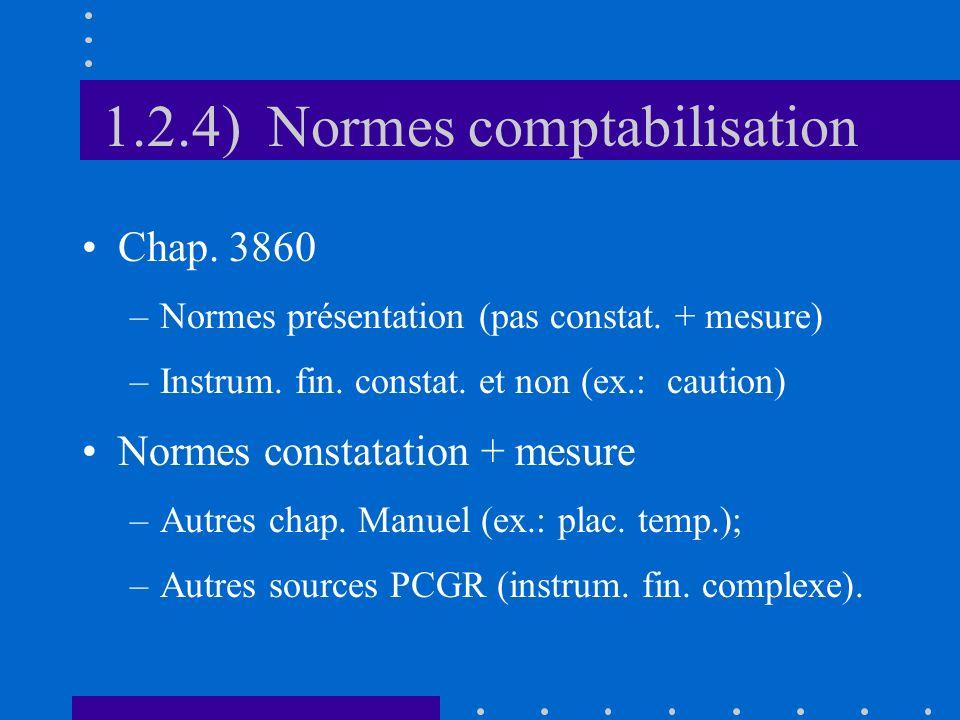 1.2.4) Normes comptabilisation Chap. 3860 –Normes présentation (pas constat.