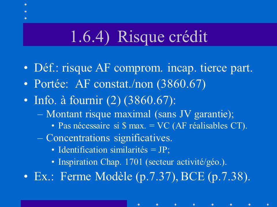 1.6.4) Risque crédit Déf.: risque AF comprom. incap.