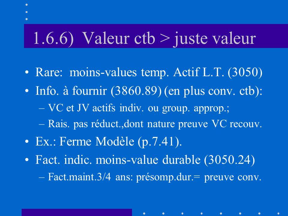 1.6.6) Valeur ctb > juste valeur Rare: moins-values temp.