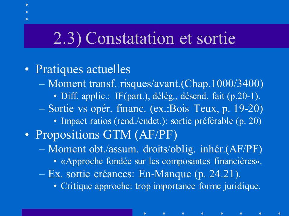 2.3) Constatation et sortie Pratiques actuelles –Moment transf.