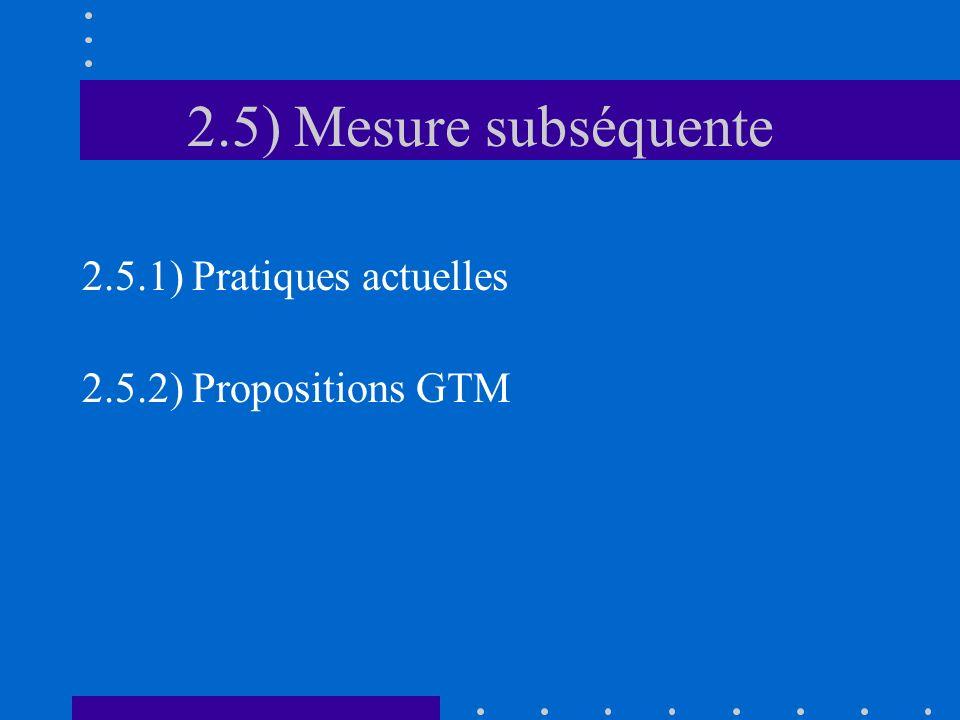 2.5) Mesure subséquente 2.5.1) Pratiques actuelles 2.5.2) Propositions GTM