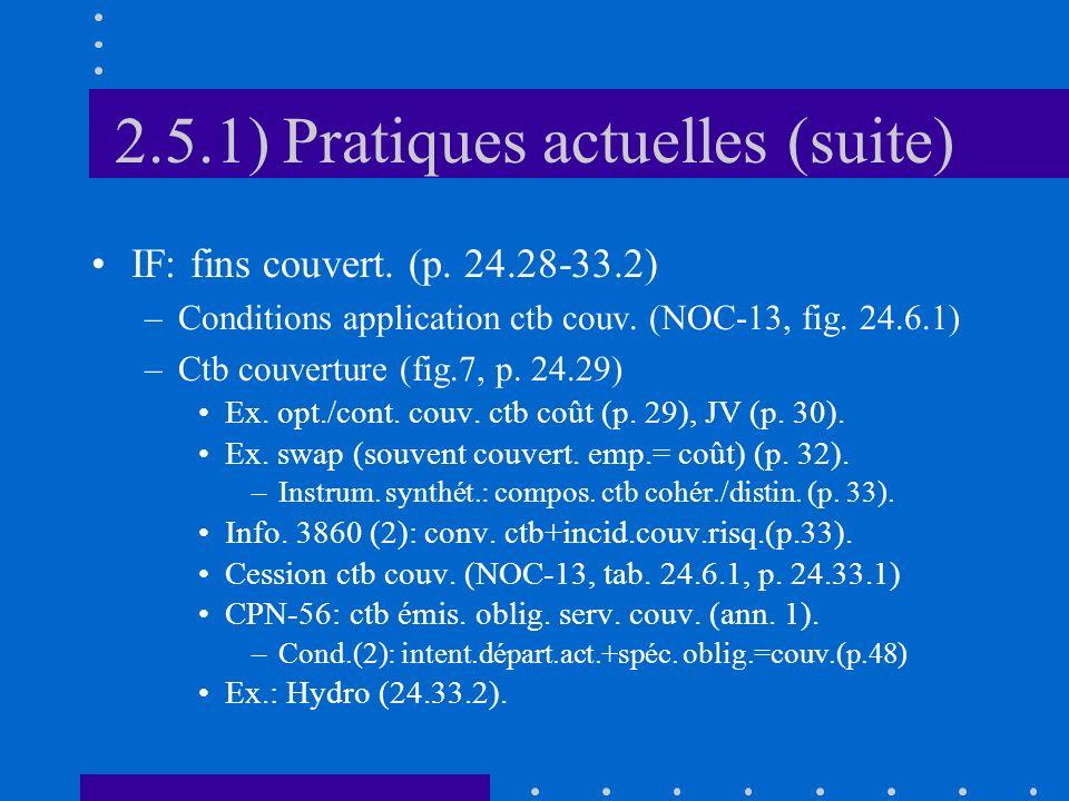 2.5.1) Pratiques actuelles (suite) IF: fins couvert.
