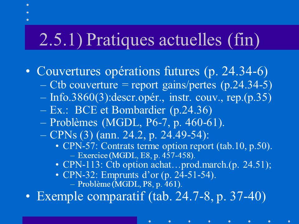 2.5.1) Pratiques actuelles (fin) Couvertures opérations futures (p.