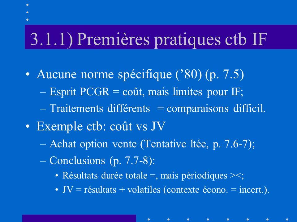 3.1.1) Premières pratiques ctb IF Aucune norme spécifique (80) (p.
