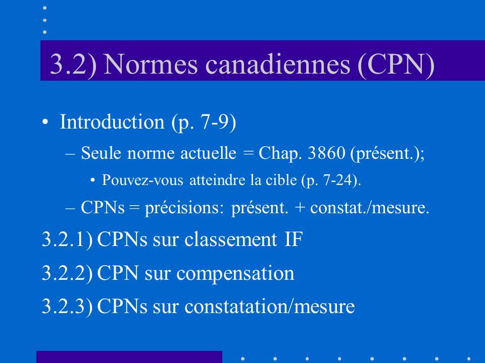 3.2) Normes canadiennes (CPN) Introduction (p. 7-9) –Seule norme actuelle = Chap.