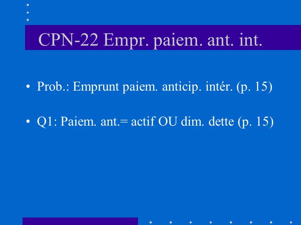CPN-22 Empr. paiem. ant. int. Prob.: Emprunt paiem.