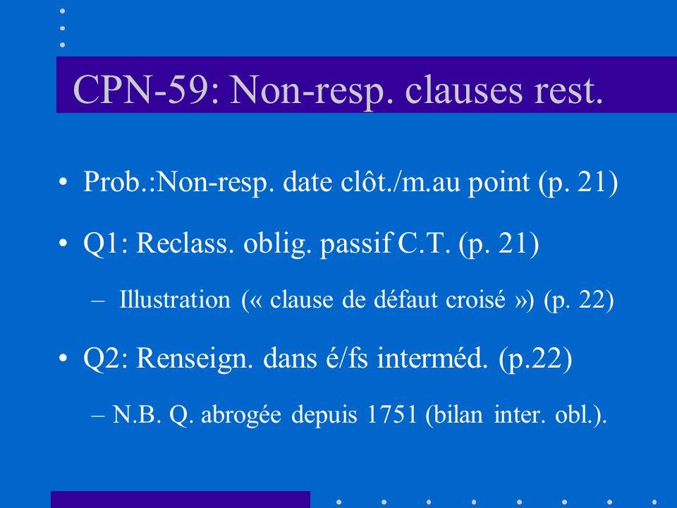 CPN-59: Non-resp. clauses rest. Prob.:Non-resp. date clôt./m.au point (p.