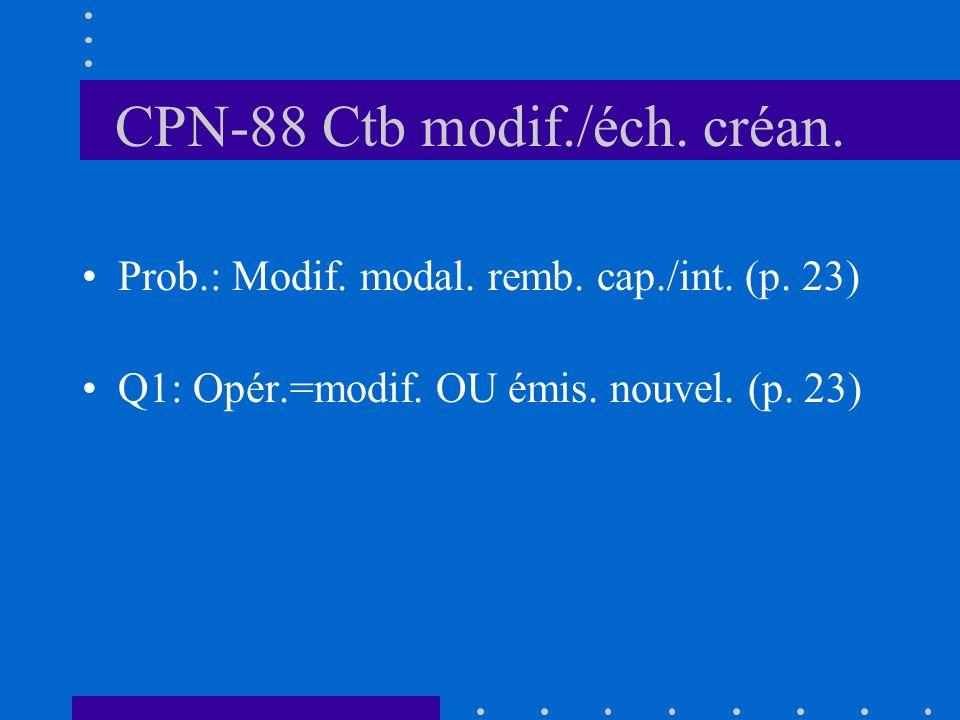 CPN-88 Ctb modif./éch. créan. Prob.: Modif. modal.