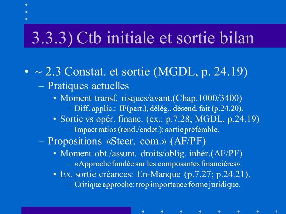3.3.3) Ctb initiale et sortie bilan ~ 2.3 Constat.