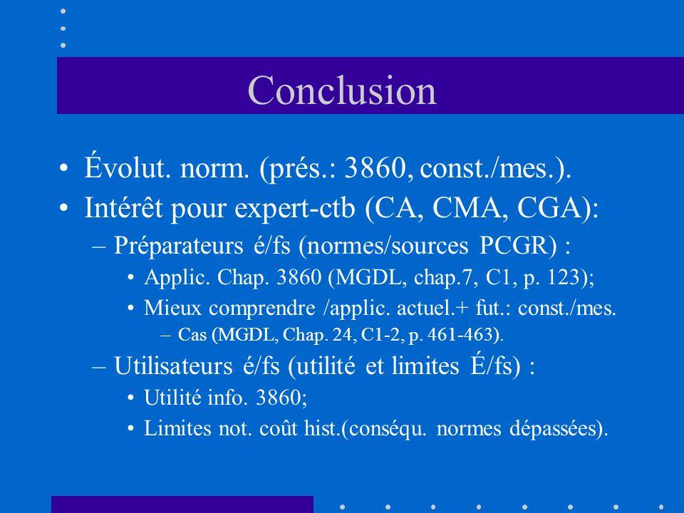 Conclusion Évolut. norm. (prés.: 3860, const./mes.).
