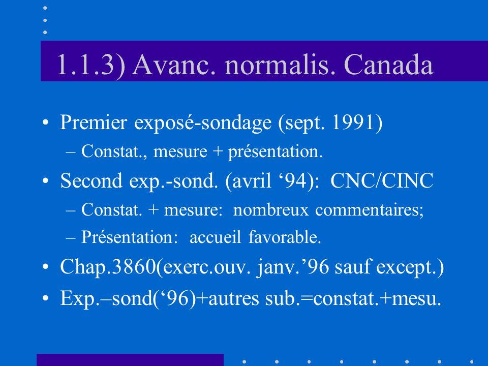 1.2) Norme canadienne 1.2.1) Portée (exclusions) 1.2.2) Définitions: formulation 1.2.3) Définitions: application 1.2.4) Normes comptabilisation