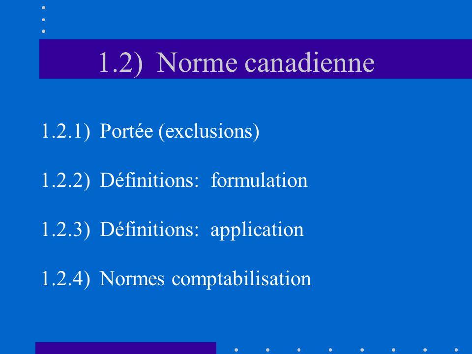 1.2.1) Portée (exclusions) Objet –Présentation instruments constatés + non.