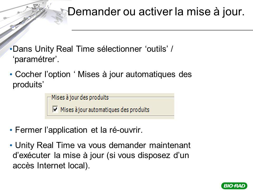 Demander ou activer la mise à jour.Dans Unity Real Time sélectionner outils / paramétrer.