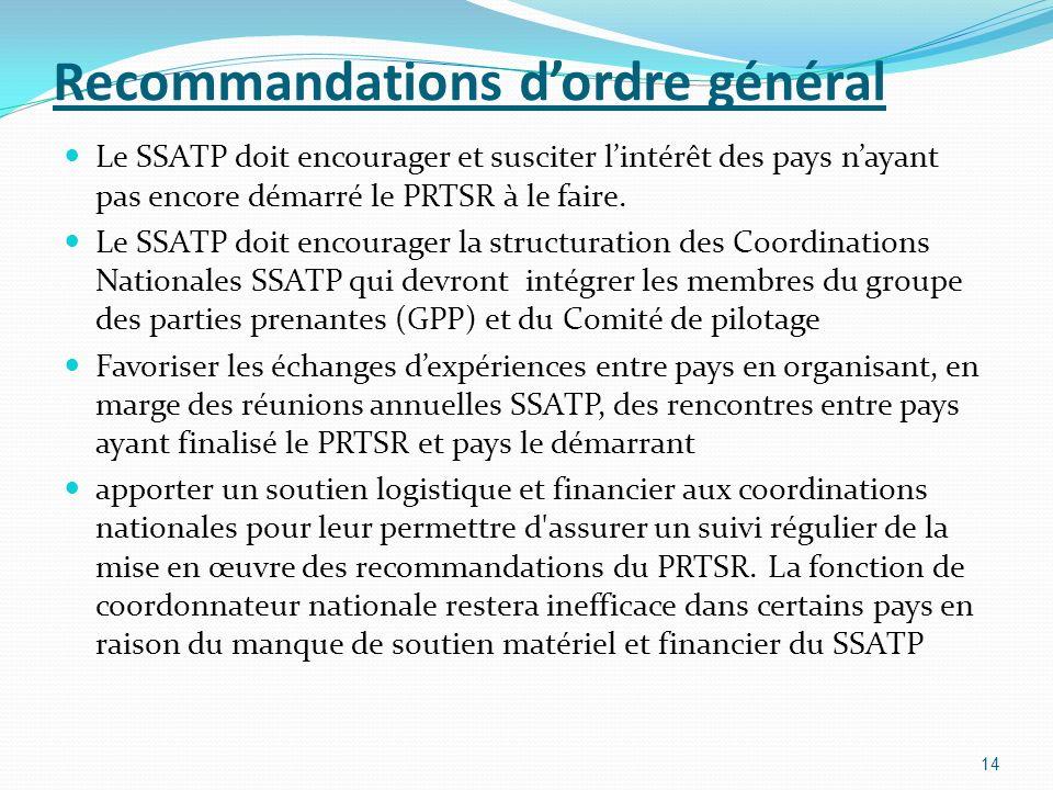Recommandations dordre général Le SSATP doit encourager et susciter lintérêt des pays nayant pas encore démarré le PRTSR à le faire. Le SSATP doit enc