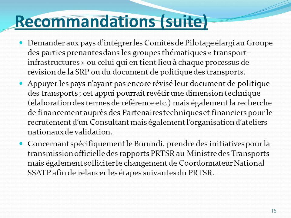 Recommandations (suite) Demander aux pays dintégrer les Comités de Pilotage élargi au Groupe des parties prenantes dans les groupes thématiques « transport - infrastructures » ou celui qui en tient lieu à chaque processus de révision de la SRP ou du document de politique des transports.