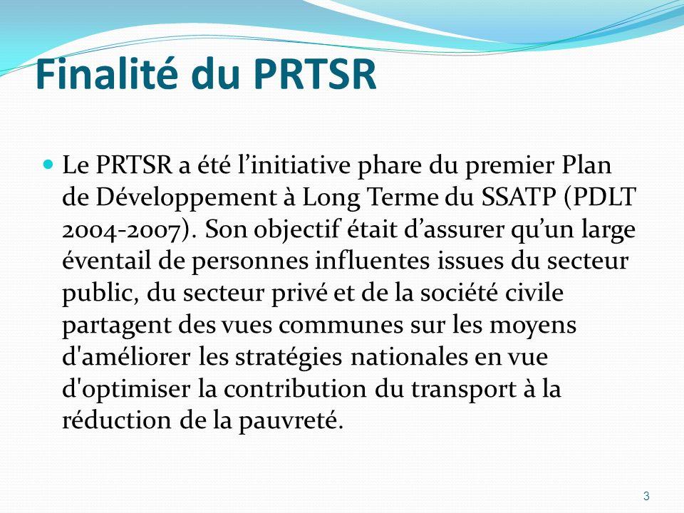 Finalité du PRTSR Le PRTSR a été linitiative phare du premier Plan de Développement à Long Terme du SSATP (PDLT 2004-2007).