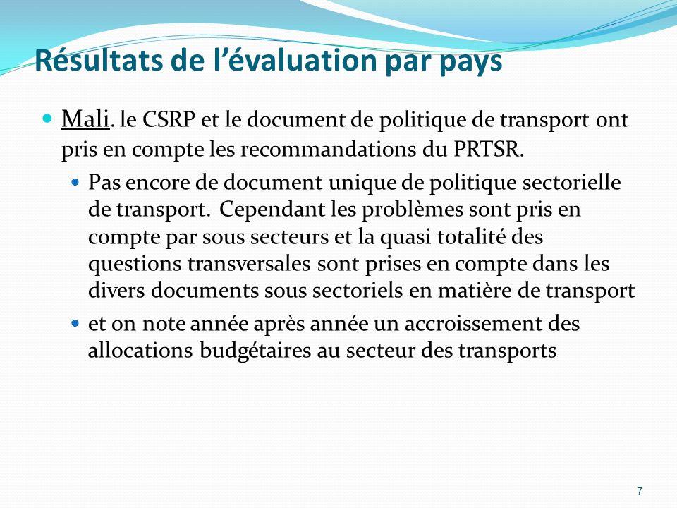 Résultats de lévaluation par pays Mali. le CSRP et le document de politique de transport ont pris en compte les recommandations du PRTSR. Pas encore d
