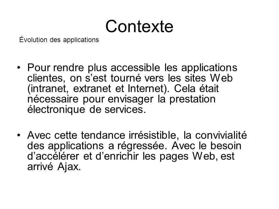 Contexte Pour rendre plus accessible les applications clientes, on sest tourné vers les sites Web (intranet, extranet et Internet).