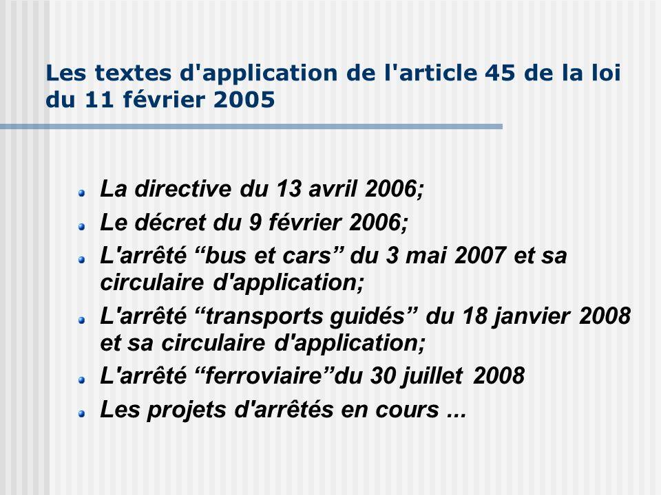 Les textes d'application de l'article 45 de la loi du 11 février 2005 La directive du 13 avril 2006; Le décret du 9 février 2006; L'arrêté bus et cars