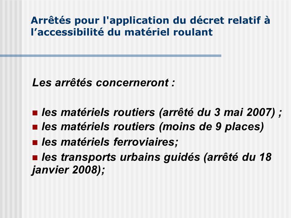 Arrêtés pour l'application du décret relatif à laccessibilité du matériel roulant Les arrêtés concerneront : les matériels routiers (arrêté du 3 mai 2