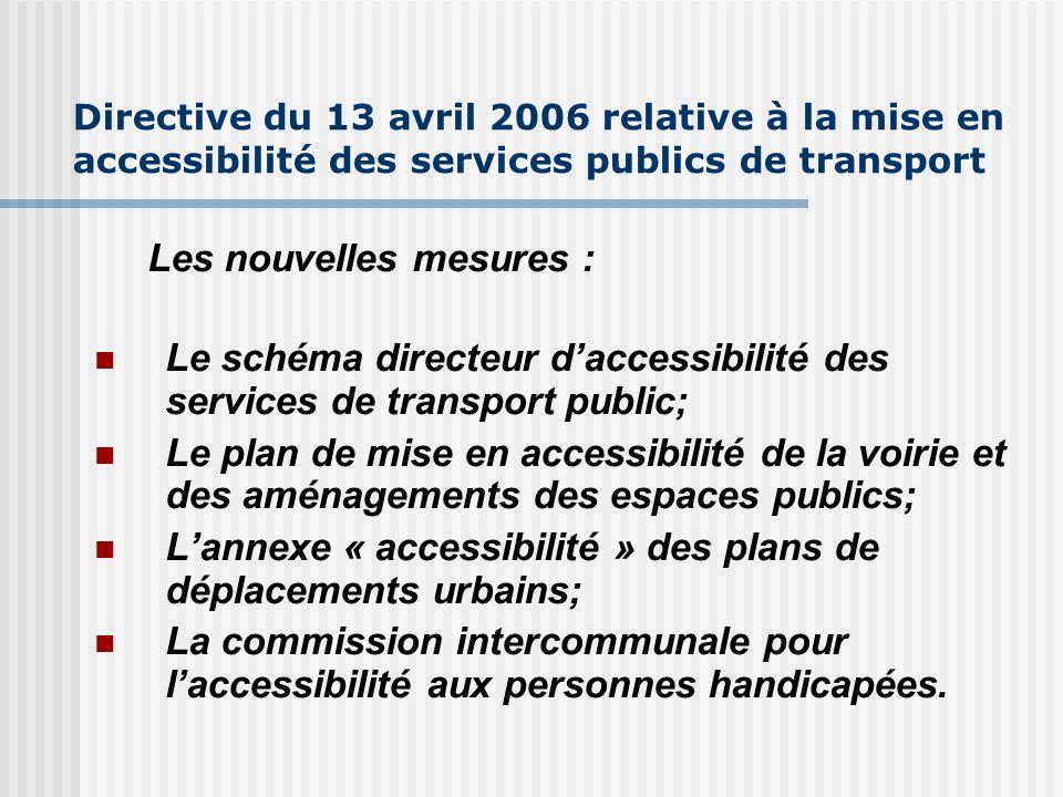 Directive du 13 avril 2006 relative à la mise en accessibilité des services publics de transport Les nouvelles mesures : Le schéma directeur daccessib