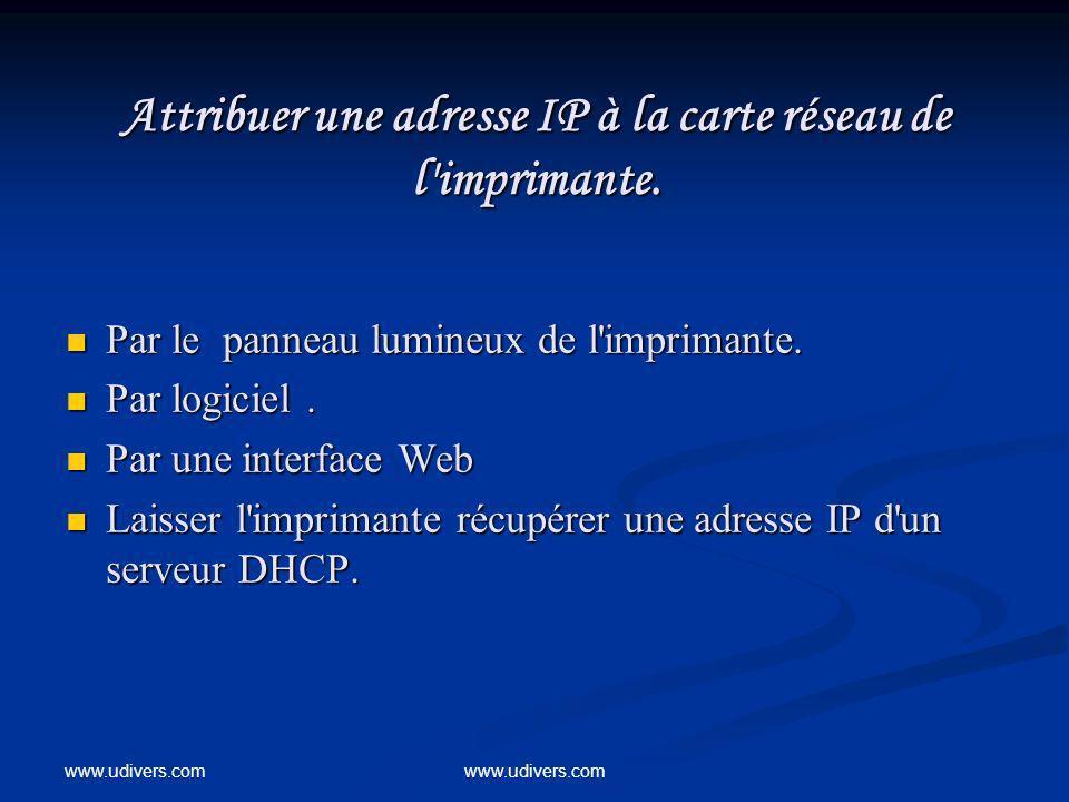 www.udivers.com Attribuer une adresse IP à la carte réseau de l'imprimante. Par le panneau lumineux de l'imprimante. Par le panneau lumineux de l'impr