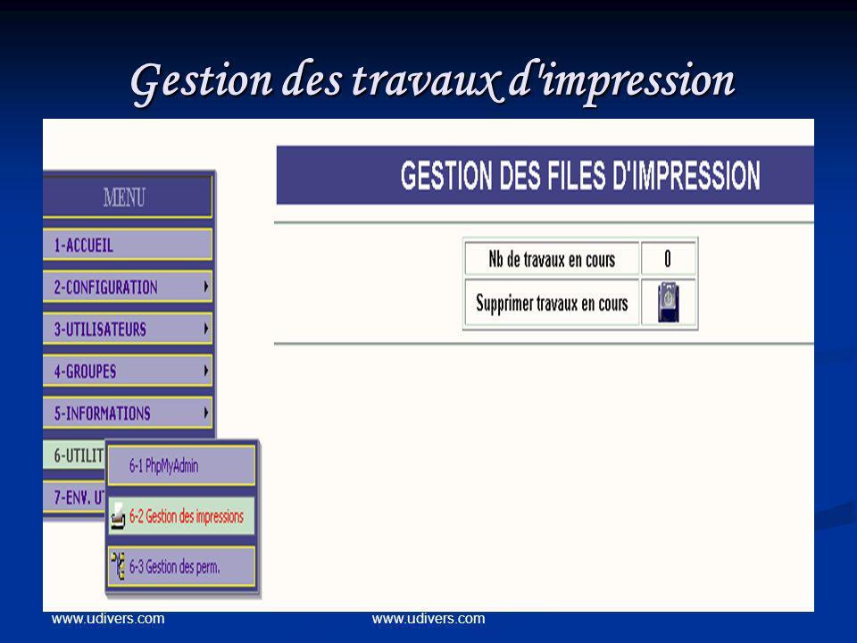 www.udivers.com Gestion des travaux d'impression