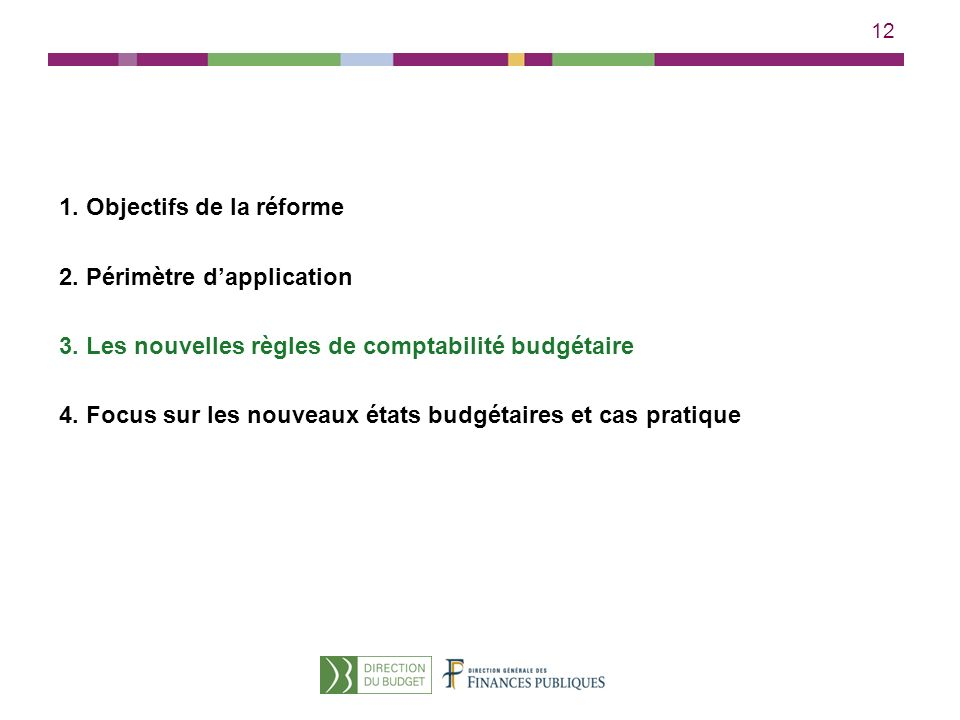 12 1. Objectifs de la réforme 2. Périmètre dapplication 3. Les nouvelles règles de comptabilité budgétaire 4. Focus sur les nouveaux états budgétaires