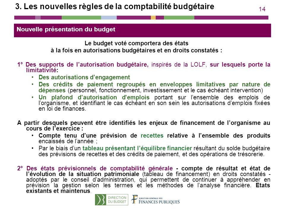 14 3. Les nouvelles règles de la comptabilité budgétaire Le budget voté comportera des états à la fois en autorisations budgétaires et en droits const